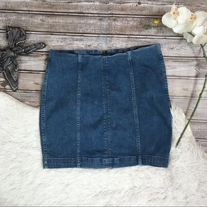 FREE PEOPLE New With Tag Blue Denim Jean Skirt 8